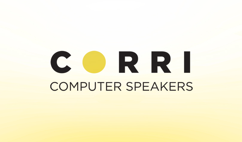 Corri computer speakers, logo, industrial design, nesting, avocado